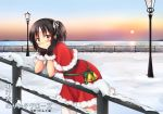 1girl alternate_costume bell black_gloves blush brown_eyes brown_hair capelet christmas commentary_request elbow_rest eyebrows_visible_through_hair fur-trimmed_capelet fur-trimmed_gloves gloves green_ribbon hair_ribbon headband horizon jingle_bell kantai_collection lamppost leaning_forward looking_at_viewer looking_to_the_side nagara_(kantai_collection) ocean one_side_up outdoors railing ribbon santa_costume sk02 sky smile snow solo sunrise thigh-highs translation_request white_legwear white_ribbon zettai_ryouiki