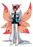 1girl absurdly_long_hair bike_shorts black_gloves black_hat blue_eyes domino_mask elbow_gloves full_body gloves hat insect_wings kz_609 long_hair mask moth_wings necktie personification pokemon pokemon_(game) pokemon_bw red_necktie shorts simple_background sketch solo standing very_long_hair volcarona white_background white_hair wings