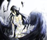 1girl albedo bare_shoulders black_hair black_wings breasts demon_girl demon_horns demon_wings dress gloves hair_between_eyes hand_on_own_chest horns large_breasts large_wings long_hair looking_at_viewer overlord_(maruyama) short_sleeves solo thigh-highs white_dress white_gloves wings yellow_eyes yuyumememe