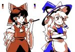 2girls akiyoku apron ascot blush bow braid crossed_arms detached_sleeves gohei hair_bow hair_ornament hair_tubes hakurei_reimu hand_on_hip hat holding kirisame_marisa limited_palette long_hair multiple_girls pixel_art puffy_sleeves ribbon_trim short_hair side_braid touhou waist_apron witch_hat