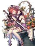 1girl bangs blue_eyes branch breasts brown_hair dutch_angle fantasy feathers flower gloves hat holding holding_sword holding_weapon lace lace-trimmed_skirt looking_at_viewer medium_breasts orange_flower original overgrown plant purple_flower purple_skirt red_flower sheath sheathed shoes sideboob simple_background single_gauntlet sitting skirt solo supertie sword thigh-highs thighs weapon white_background white_flower white_legwear