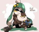 1girl beanie cat closed_eyes domino_mask green_legwear hat inkling jajji-kun_(splatoon) mask nana_(raiupika) sailor_hat shoes splatoon tentacle_hair