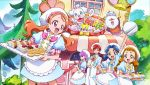 5girls absurdres apron arisugawa_himari arm_up bow cake cream_puff cup female food hat highres holding holding_cup holding_tray ino_marie kenjou_akira kirakira_precure_a_la_mode kotozume_yukari multiple_girls official_art open_mouth pastry patissier pekorin precure promotional_art pudding smile tategami_aoi teacup teapot tray usami_ichika