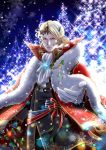 1boy armor blonde_hair european_clothes fire_emblem fire_emblem_if fur_coat highres jewelry kaboplus_ko looking_at_viewer male_focus marx_(fire_emblem_if) offering_hand smile snow snowflakes solo_focus tiara