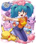 ;d aqua_hair belt charmander clefairy denim ditto espeon gengar imite_(pokemon) jeans one_eye_closed open_mouth pants pikachu pointing pokemoa pokemon pokemon_(anime) poliwag smile squirtle twintails