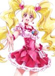 1girl :d blonde_hair blush choker cure_peach dress earrings eyelashes fresh_precure! frilled_dress frills hair_ornament hairclip happy heart heart_earrings heart_hair_ornament highres jewelry long_hair looking_at_viewer magical_girl momozono_love open_mouth pink_eyes precure puffy_sleeves ribbon sharumon simple_background smile solo standing twintails white_background wrist_cuffs
