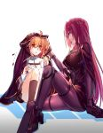 2girls absurdres aer_(tengqiu) ahoge blush bodysuit fate/grand_order fate_(series) fujimaru_ritsuka_(female) highres long_hair looking_at_another multiple_girls open_mouth orange_hair purple_bodysuit purple_hair red_eyes scathach_(fate/grand_order) shared_clothes short_hair side_ponytail smile very_long_hair