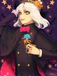 1boy animal bat black_nails blue_flower cape copyright_name flower green_eyes halloween hand_on_headwear hat holding holding_flower horns long_sleeves looking_to_the_side male_focus medium_hair mogeco nail_polish night psychic_hearts rota_karubanya solo sparkle star tongue tongue_out white_hair