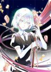 1girl 2017 black_neckwear black_shirt dated diamond_(houseki_no_kuni) elbow_gloves emo_(ricemo) gloves grey_eyes hair_between_eyes head_tilt holding holding_weapon houseki_no_kuni looking_at_viewer necktie pink_ribbon ribbon shirt short_hair short_sleeves signature silver_hair solo standing weapon white_gloves