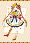 1girl :d apron blue_bow bow braid brown_eyes brown_hair butter dress food food_themed_hair_ornament full_body gradient_hair hair_ornament kneehighs kotokoto_(vibgyor) long_hair looking_at_viewer morinaga_(brand) multicolored_hair open_mouth original pancake personification plate red_shoes shoes smile solo stack_of_pancakes standing striped striped_bow twin_braids twintails yellow_dress yellow_legwear