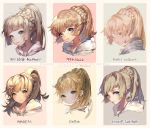 1girl artist_name blonde_hair blue_eyes braid character_name collaboration commentary_request comparison crown_braid french_braid green_eyes high_ponytail kawacy kim_hyung_tae kkuem krenz lillie_(pokemon) long_hair looking_at_viewer pigeon666 pokemon pokemon_(game) pokemon_sm ponytail repi987 spoilers