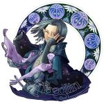 1boy armor black_hair bracelet cape character_name elf hair_ornament jewelry lord_of_the_rings maeglin pointy_ears shouda_masumi silmarillion simple_background solo upper_body violet_eyes white_background