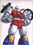 2015 artist_request crossover cy-kill dated fusion gobots handlebar highres looking_at_viewer marker_(medium) mecha megatron red_eyes redesign robot scan science_fiction signature sketch tire traditional_media transformers