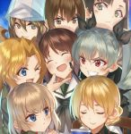 6+girls anchovy bangs black_ribbon blonde_hair blue_eyes blue_sweater blush braid brown_hair cape chair chin_tickle closed_eyes cup darjeeling dress_shirt drill_hair frown girls_und_panzer green_hair green_jacket grin hair_between_eyes hair_ribbon hat head_tilt height_difference jacket kabocha katyusha kay_(girls_und_panzer) light_brown_hair light_smile long_hair long_sleeves looking_at_another looking_at_viewer mika_(girls_und_panzer) multiple_girls nishi_kinuyo nishizumi_maho nishizumi_miho one_eye_closed open_mouth parted_bangs portrait pout red_eyes ribbon riding_crop school_uniform shirt short_hair sitting smile sweater teacup tied_hair twin_braids twin_drills twintails v-neck wavy_hair white_shirt