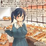 1girl alternate_costume blue_eyes blue_hair bread colored_pencil_(medium) dated food hamster hand_on_own_chin kantai_collection kirisawa_juuzou long_hair numbered sailor_collar school_uniform serafuku souryuu_(kantai_collection) traditional_media translation_request tray twintails twitter_username