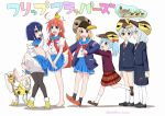 1boy 5girls ahoge antenna_hair ayanero_taicho bangs bird black_legwear blazer blonde_hair blue_eyes blue_hair bow brown_eyes chicken copyright_name duck eyebrows_visible_through_hair flip_flappers flower hair_bow hat jacket kokomine_cocona long_hair multicolored_hair multiple_girls nyunyu open_mouth orange_hair pantyhose papika_(flip_flappers) pleated_skirt red_eyes robot school_uniform serafuku short_hair short_shorts shorts skirt smile streaked_hair tail thigh-highs toto_(flip_flappers) tt-392 twitter_username two_side_up violet_eyes white_legwear wings yayaka yuyu_(flip_flappers)