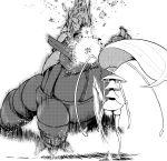 absurdres after_(artist) aggron battle highres kicking monochrome motion_blur no_humans pheromosa pokemon pokemon_(creature) pokemon_(game) pokemon_sm ultra_beast