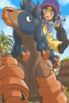 1girl :d akatsuki_no_akatsuki black_boots black_hair blue_sky blush bonnet boots cliff clouds dark_skin day gloves grass haapuu_(pokemon) half-closed_eyes highres horse horseback_riding island_kahuna jumpsuit long_hair mudsdale open_mouth outdoors palm_tree pokemon pokemon_(creature) pokemon_(game) pokemon_sm puffy_short_sleeves puffy_sleeves purple_gloves riding short_sleeves sky smile thick_eyebrows tongue tree twintails very_long_hair violet_eyes