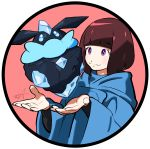 1girl alternate_color bangs blunt_bangs bob_cut brown_hair carbink character_request circle cloak closed_mouth eyebrows_visible_through_hair gem highres long_sleeves looking_at_another pokemon pokemon_(creature) pokemon_(game) pokemon_xy rock shiny_pokemon short_hair signature simple_background smile tokiya violet_eyes white_background