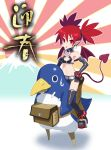 absurdres bat_wings choker circle_echime demon_girl demon_tail disgaea etna fanny_pack gloves highres makai_senki_disgaea navel prinny red_eyes redhead tail thigh-highs twintails wings