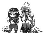 >:) 1boy 1girl bag bangs beak beanie bird bird_wings blush bob_cut bracelet chibi closed_mouth cosplay costume_switch covering_face crossdressing embarrassed feathered_wings feathers floral_print flying_sweatdrops full_body gen_7_pokemon guzma_(pokemon) guzma_(pokemon)_(cosplay) handbag hat hood hood_down hooded_jacket isopod jacket jewelry leaf monochrome motion_lines necklace nose_blush open_clothes open_jacket owl pants parted_bangs pengtl poke_ball_theme pokemon pokemon_(creature) pokemon_(game) pokemon_sm rowlet selene_(pokemon) selene_(pokemon)_(cosplay) shoes short_hair short_sleeves shorts simple_background smirk sneakers squatting standing strap sunglasses sunglasses_on_head tattoo team_skull white_background wimpod wings z-ring