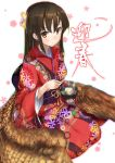 1girl bangs blurry_background blush breasts brown_eyes brown_hair closed_mouth floral_background floral_print food hair_between_eyes hair_ornament happy_new_year holding_bowl holding_chopsticks japanese_clothes kimono long_hair looking_at_viewer magu_(mugsfc) medium_breasts new_year obi oden original red_kimono sash seiza sitting smile solo translated white_background wings