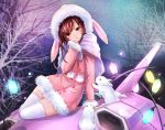 1girl animal animal_hood arm_at_side arm_support bangs bare_tree brown_eyes brown_hair bunny_hood buttons cable capelet coat d.va_(overwatch) facepaint facial_mark fur-trimmed_coat fur_trim hand_to_own_mouth hand_up hood hood_up hooded_coat light_bulb looking_at_viewer m-musume_(catbagel) mecha meka_(overwatch) night night_sky open_mouth overwatch pink_coat pom_pom_(clothes) rabbit sitting sky solo star_(sky) starry_sky thigh-highs tree whisker_markings white_legwear winter_clothes winter_coat yokozuwari