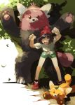 >_< 1girl alternate_color bangs bare_arms bare_legs bear bent_over bewear black_hair bob_cut bracelet brown_eyes closed_eyes closed_mouth female_protagonist_(pokemon_sm) fingernails green_shorts highres jewelry leaf leaning_forward looking_at_viewer mayo_cha open_mouth parted_bangs paws pokemon pokemon_(creature) pokemon_(game) pokemon_sm shiny_pokemon shirt shoes short_hair short_sleeves shorts simple_background smile sneakers standing stufful tail teeth tied_shirt tongue tree white_background yellow_shirt z-ring