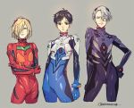 3boys black_hair blonde_hair blue_eyes brown_eyes cosplay crossed_arms grey_hair hair_over_one_eye hand_on_hip ikari_shinji ikari_shinji_(cosplay) katsuki_yuuri male_focus multiple_boys nagisa_kaworu nagisa_kaworu_(cosplay) neon_genesis_evangelion plugsuit souryuu_asuka_langley souryuu_asuka_langley_(cosplay) sweatdrop toned twitter_username viktor_nikiforov whitemop_jog yuri!!!_on_ice yuri_plisetsky