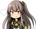 >:t 1girl :t angry blush_stickers brown_eyes girls_frontline jacket long_hair looking_at_viewer personification pout side_ponytail silver_hair solo ump45_(girls_frontline)