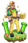 +_+ 1boy arm_hair armband backpack bag belt bowser bracelet claws coin facial_hair fangs goatee grass green_shirt hat highres horns jewelry male_focus mario_(series) muscle mushroom oskar_vega overalls personification question_block red_eyes redhead shell shirt sparkling_eyes spiked_belt spiked_bracelet spiked_shell spikes starman_(mario) super_mario_bros. super_mushroom t-shirt thick_eyebrows turtle_shell warp_pipe
