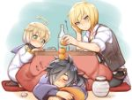 3boys ahoge black_hair blonde_hair blue_eyes blush bottle eizen_(tales) folks_(nabokof) food fruit green_eyes laphicet_(tales) long_hair male_focus multiple_boys rokurou_rangetsu sitting sleeping socks tales_of_(series) tales_of_berseria vest