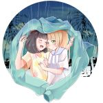 2girls ^_^ ^o^ bangs beanie black_hair blonde_hair blunt_bangs blush breast_grab closed_eyes eye_contact female_protagonist_(pokemon_sm) floral_print grabbing hand_on_another's_chest happy hat holding_jacket lillie_(pokemon) looking_at_another multiple_girls open_mouth pokemon pokemon_(game) pokemon_sm ponytail rain red_hat school_uniform shirt short_hair short_sleeves simple_background sky smile teliga tree under_clothes upper_body white_background yuri z-ring