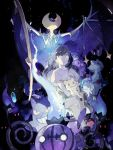 1girl black_hair chandelure drifloon female_protagonist_(pokemon_sm) fire froslass gengar litwick lunaala mimikyu no_hat no_headwear pokemon pokemon_(game) pokemon_sm sableye starshadowmagician yellow_eyes
