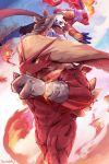 artist_name blaziken blue_eyes fire happy_new_year high_five highres infernape muscle new_year no_humans pokemon pokemon_(game) pokemon_dppt pokemon_oras pokemon_rse waddy