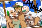1boy 1girl arm_over_shoulder bare_shoulders baseball_cap beard black_hair breasts burnet_(pokemon) cleavage dark_skin dark_skinned_male facial_hair grin hair_between_eyes hairband hat highres husband_and_wife jewelry kukui_(pokemon) long_hair nasan necklace open_labcoat photo_(object) pokemon pokemon_(creature) pokemon_(game) pokemon_sm rockruff rowlet short_hair smile sunglasses tank_top twitter_username white_hair yellow_eyes