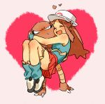 >_< 1girl :d blue_(pokemon) blush brown_hair carrying closed_eyes commentary_request hat heart heart_background hitmonlee leg_warmers long_hair oimo_(14sainobba) open_mouth pokemon pokemon_(creature) princess_carry shoes size_difference skirt smile sneakers sweatdrop xd