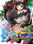 1girl alola_form bangs beanie black_hair female_protagonist_(pokemon_sm) hat highres incineroar muk nikorashi-ka open_mouth persian pokemon pokemon_(creature) pokemon_(game) pokemon_sm raticate red_hat shirt short_hair smile