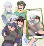 4boys beard black_hair cellphone closed_eyes facial_hair father_and_son fingerless_gloves ghost gloves grin hatake_kakashi hatake_sakumo mask might_duy might_guy multiple_boys mustache naruto phone risuo silver_hair smartphone smile thumbs_up
