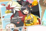 1girl ;d alola_form alolan_exeggutor alternate_costume bangs beak bear bewear bird bird_wings black_hair blue_sky bob_cut bracelet braviary clouds comfey day dog eagle english exeggutor eyebrows_visible_through_hair fangs feathered_wings feathers female_protagonist_(pokemon_sm) feminine_saitou floral_print flower grey_eyes hair_flower hair_ornament happy_new_year heart highres index_finger_raised japanese_clothes jewelry kimono long_sleeves looking_at_viewer new_year on_head one_eye_closed open_mouth outdoors owl palm_tree parted_bangs photo_(object) poke_ball_theme pokemon pokemon_(creature) pokemon_(game) pokemon_sm puppy pyukumuku rockruff rowlet sea_cucumber short_hair sky smile teeth text tongue torchic translated tree v wide_sleeves wings z-ring