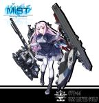 1girl absurdres black_footwear capelet character_name copyright_name full_body highres holding holding_weapon leyte_gulf_(steelblue_mirage) logo long_hair pantyhose pink_hair red_eyes skirt smile solo standing steelblue_mirage very_long_hair warship_girls_r weapon white_background white_legwear xinghuajian