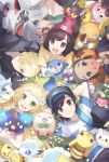 2girls 3boys alola_form alolan_raichu alolan_sandshrew alolan_vulpix arms_behind_head backpack bag baseball_cap beanie black_eyes black_hair blonde_hair bounsweet braid brother_and_sister cosmog cutiefly dark_skin dark_skinned_male eating female_protagonist_(pokemon_sm) flower gladio_(pokemon) grass green_eyes green_hair green_shorts hair_flower hair_ornament hair_over_one_eye hat hau_(pokemon) lillie_(pokemon) litten long_hair lying male_protagonist_(pokemon_sm) melso mimikyu morelull multiple_boys multiple_girls on_back on_stomach open_mouth pikachu pokemon pokemon_(creature) pokemon_(game) pokemon_sm popplio red_hat rockruff rowlet shirt short_hair shorts siblings silvally smile striped striped_shirt stufful togedemaru twin_braids wimpod