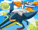 aircraft airplane artist_name charjabug clouds crossover dryadese_(artist) electricity gradius jet laser options pokemon pokemon_(game) pokemon_sm sky vic_viper vikavolt