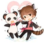 1boy animal_ears bow bowtie brown_eyes brown_hair fang fuuko_(2679566944) heart highres ice_skates ji_guang-hong kemonomimi_mode male_focus open_mouth panda red_panda_ears red_panda_tail skates smile sparkle tail yuri!!!_on_ice