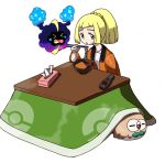 1girl :o bangs beak bird bird_wings blonde_hair blunt_bangs bowl braid closed_eyes controller eating feathered_wings feathers food french_braid green_eyes high_ponytail highres jacket kotatsu leaf legendary_pokemon lillie_(pokemon) long_sleeves noodles open_clothes open_jacket open_mouth orange_jacket owl poke_ball_theme pokemon pokemon_(creature) pokemon_(game) pokemon_sm ramen remote_control rowlet shirt short_hair sidelocks simple_background sitting sparkle table tellzeta tissue tissue_box white_background white_shirt wings