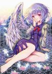 1girl barefoot blue_hair bow bowtie brooch commentary_request dress feathered_wings hand_in_front_of_face highres jacket jewelry kishin_sagume kittona long_sleeves puzzle_piece red_eyes short_hair single_wing sitting solo tears touhou watercolor_pencil_(medium) wings