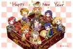 6+girls :d ^_^ alternate_hairstyle ayase_eli black_hair blonde_hair blue_eyes blue_hair bow bowl brown_hair checkered checkered_background cheesecake chocolate_bar chopsticks closed_eyes commentary_request eating food fruit green_eyes grey_hair hair_bow happy_new_year hoshizora_rin japanese_clothes kimono koizumi_hanayo kousaka_honoka long_hair looking_at_viewer love_live! love_live!_school_idol_project minami_kotori minami_kotori_(bird) minigirl mochi multiple_girls nengajou new_year nishikino_maki noodles obentou obi one_side_up open_mouth osechi pocky ponytail purple_hair ramen red_eyes rice sash short_hair side_ponytail sitting smile sonoda_umi strawberry tomato tomiwo toujou_nozomi twintails twitter_username violet_eyes wagashi wide_sleeves yakiniku yazawa_nico