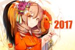 2017 artist_name bangs bell bird chicken drill_hair eyebrows_visible_through_hair flower hair_between_eyes hair_flower hair_ornament hairclip holding japanese_clothes jingle_bell kimono light_brown_hair looking_at_viewer meth_(emethmeth) nengajou new_year obi orange_eyes orange_kimono original purple_hair rooster sash signature smile upper_body white_flower year_of_the_rooster