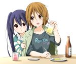 2girls alcohol alternate_costume alternate_hairstyle asahi_breweries beer beer_bottle blue_hair blush brown_eyes casual cup dresstrip drinking_glass food fork hair_down jacket_on_shoulders k-on! looking_back multiple_girls nakano_azusa plate shirt_tug simple_background sitting table tainaka_ritsu twintails white_background