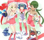 3girls alola_form alolan_vulpix arms_behind_back bell blonde_hair blue_eyes blue_hair blush braid breasts cleavage cosmog dark_skin dress fur_trim gloves green_eyes green_hair hairband hat lillie_(pokemon) litten long_hair mao_(pokemon) multiple_girls one-piece_swimsuit open_mouth pokemon pokemon_(creature) pokemon_(game) pokemon_sm popplio red_dress red_gloves red_hat rowlet santa_costume santa_hat short_hair sleeveless suiren_(pokemon) swimsuit tenjou_ryuka trial_captain twin_braids twintails white_swimsuit